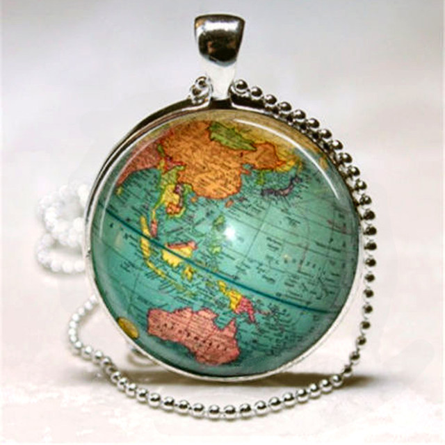 Online shop vintage cabochon glass pendant necklace shellhard diy vintage cabochon glass pendant necklace shellhard diy globe planet earth world map ball pendants charm chain necklace jewelry mozeypictures Gallery