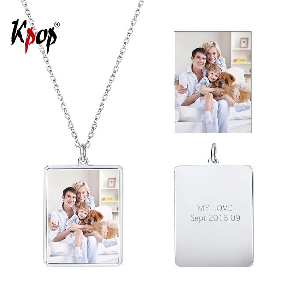Kpop personnalisé personnalisé Photo pendentif collier amour cadeaux gravé Photo Portrait nom Date 925 Sterling Silve collier 6278