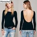 2017 primavera verano de las mujeres atractivas tops breve backless tee shirts camisetas femininas delgado sheathy t camisa básica de manga larga C243