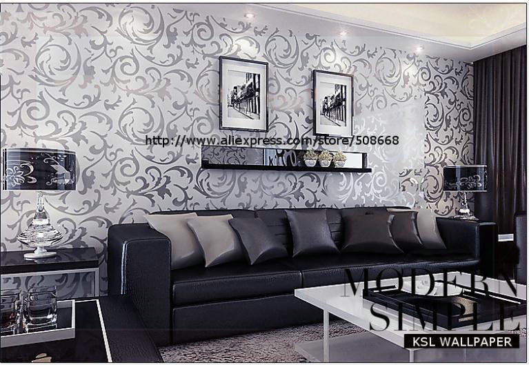 Online Shop Genuine Victorian Glitter Wallpaper Silver Background Wall Wallpaper Pvc Roll Wall Papers Home Decor For Living Room Bedroom M Aliexpress