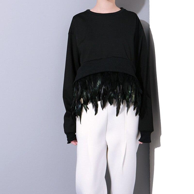 Mode Black Occasionnel De purple Vêtements Manches 2018 Plume Femmes Femelle Solide Couleur gray Chandail Tops Longues Irrégulière Pull q1qXRZw
