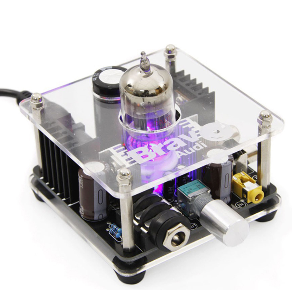 Bravo Audio V2 Class A Multi-Hybrid Headphone Amplifier Tube Amp with Stereo RCA/ 3.5mm/ 6.35mm