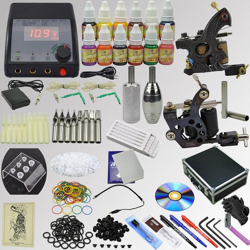 OPHIR Pro Whole Set Tattoo Kit Including 2 Machine Tattoo Guns 12x10ml Ink Pigments Tattoo Nozzles Needles Grip Set _TA075 ophir 2017 new pro tattoo kit 2 tatoo gun machine with grip needles 12x10ml ink 346pcs ta069
