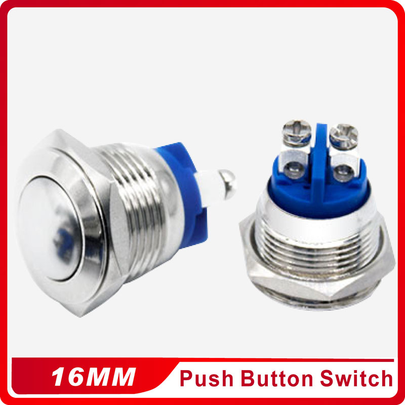 16mm Domed Round Metal Push Button Waterproof Doorbell Bell Horn Power Car Auto Engine Press Button Switch Reset 1NO Momentary in Switches from Lights Lighting