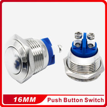 ФОТО 16mm domed round metal push button waterproof  doorbell bell horn power car auto engine press button switch  reset 1no momentary