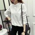 Blusas feminino 2016 outono nova mulheres fique collar manga comprida camisas femininas blusas de algodão branco puro
