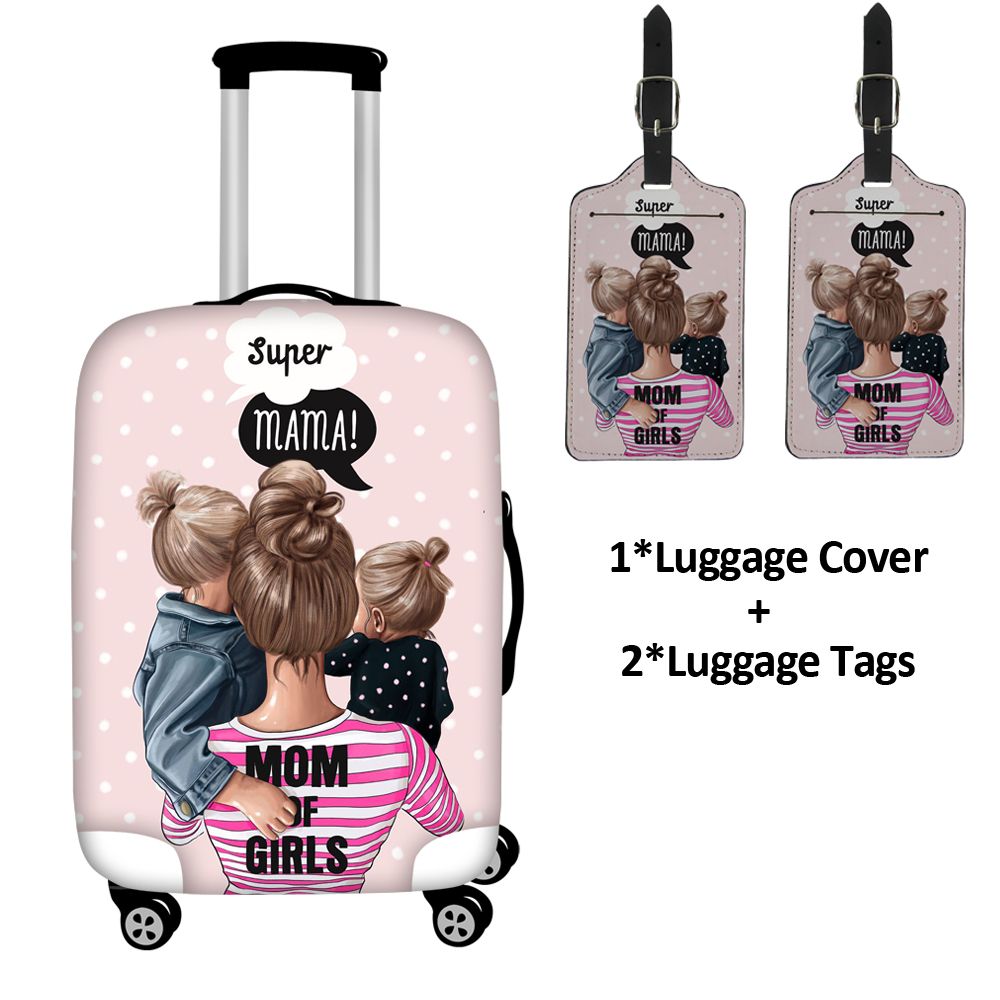 Cartoon Girls/Super Mon Travel Accessories Trolley Case Baggage Suitcase Protective Covers Elastic Pink Princess Luggage Tags
