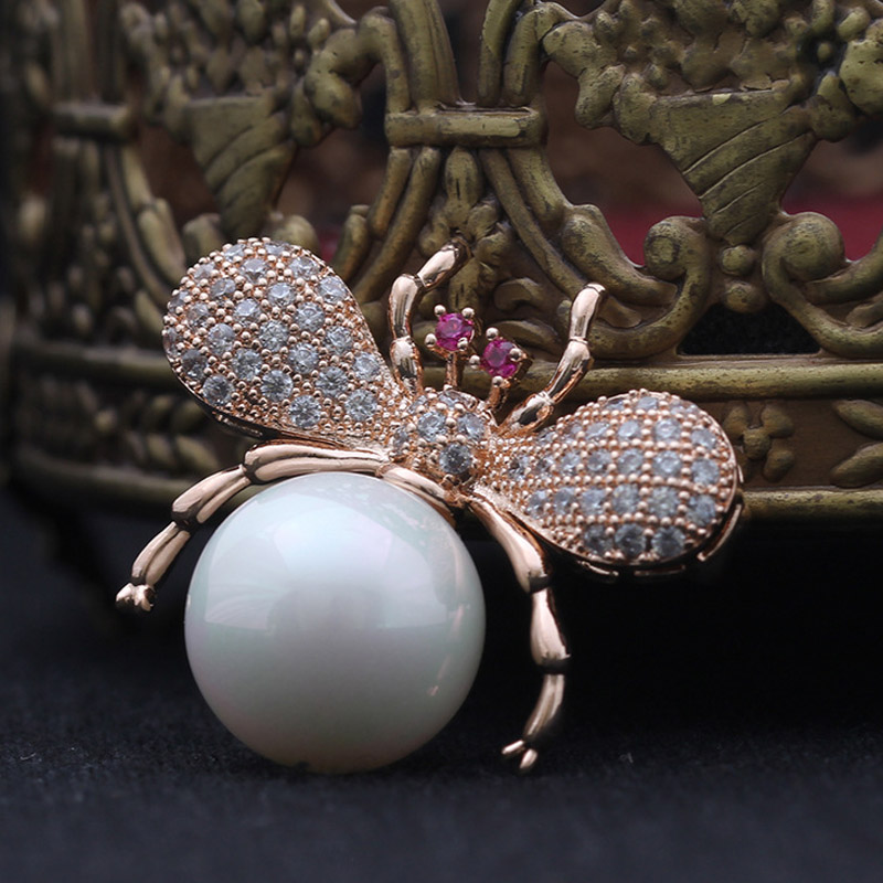 UALGL Fashion Girsl Jewelry Insect Cute Bee Brooch Lapel Pin Elegant Big Pearl Crystal Brooches For Women Clothes Accessories