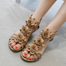 2019 new fashion Roman style female sandals flowers wedges large size casual comfortable womens shoes
