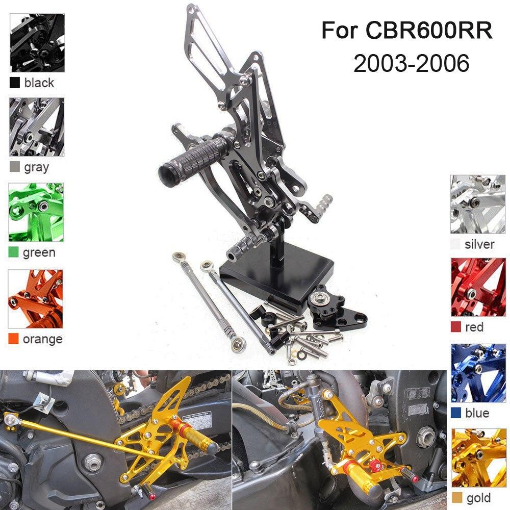 CNC Aluminum Adjustable Rearsets Foot Pegs For Honda CBR600RR CBR 600RR 2003 2004 2005 2006