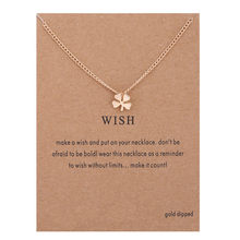 Gold Color Four Leaf Clover Pendant Necklace for Women Long Chain Necklace Desire Birthday Gifts Card necklaces & pendants(China)