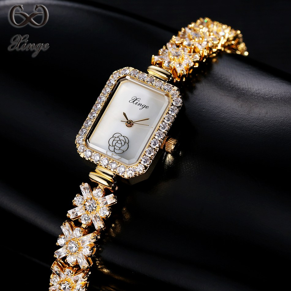 Xinge Brand High Quality Women's Watches Rectangle Crystal Zircon Luxury Fashion Ladies Gold Quartz-watch Dress Female Clock xinge brand fashion women quartz watches crystal zircon bracelet ladies watches luxury ladies clock relogio xg1003