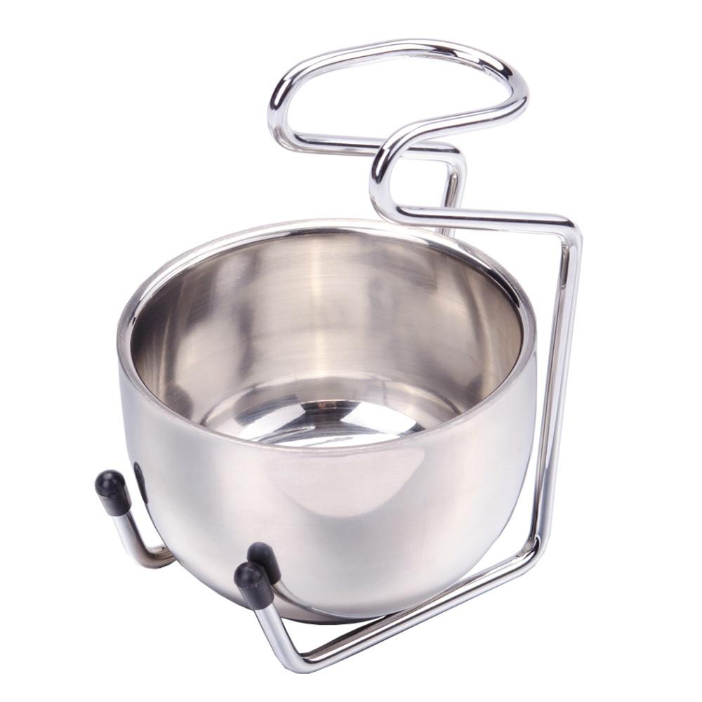 ZY 2pcs Stainless Steel Badger Shaving Brush Razors Stand Holder + Shaving Bowl Mug Soap Bowl Set For Man Shave Tool