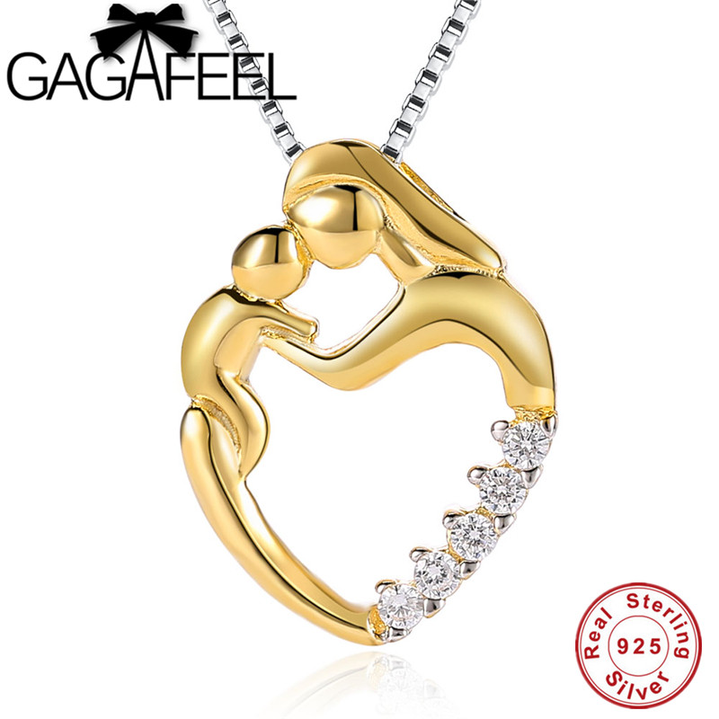 GAGAFEEL 925 Sterling Silver Mom Chains Necklaces Gold Golor Mother Daughter Son Child Family Love Pendants Mother's Day Gift mom love daughter forever with 100