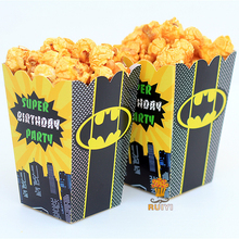 6pcs/lot Batman Kids Party Supplies Popcorn Box case Gift Box Favor Acc