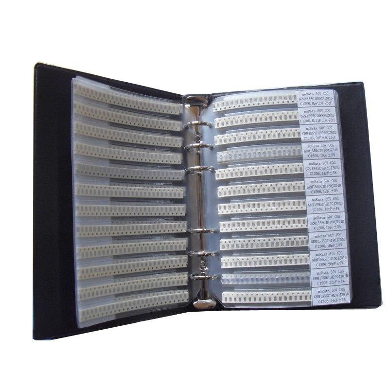 Бесплатная доставка, 1206 SMD конденсатор, книга для образцов, 80valuesx50шт = 4000 шт, 0.5PF ~ 1 мкФ набор различных конденсаторов в упаковке