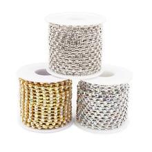 Single row ss8 rhinestones chain 10 yards/lot gold metal clear glass wedding dress decorative crystal