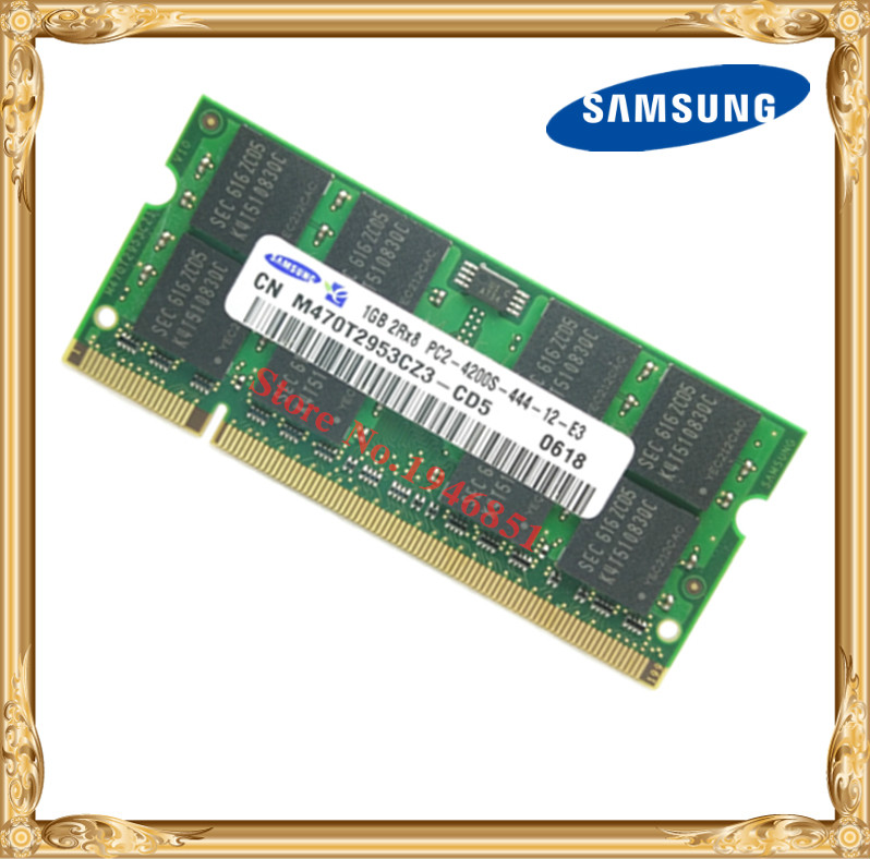 Laptop memory Samsung 1GB 533MHz PC2-4200 DDR2 Notebook RAM 533 4300 4200S 1G 200-pin SO-DIMM 100x2gb pc2 4200 ddr2 533 533mhz ddr2 laptop memory sodimm notebook ram non ecc 200pins unbuffered low density