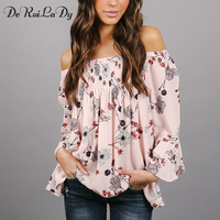 DeRuiLaDy 2018 Spring Summer Casual Blouse Shirt Women Sexy Off Shoulder Blouses Flare Long Sleeve Flower