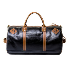 2019 Travel Bag with Shoes Pockets PU Leather Large Capacity Handbags Black Luggage For Men Women Duffle Totes Package