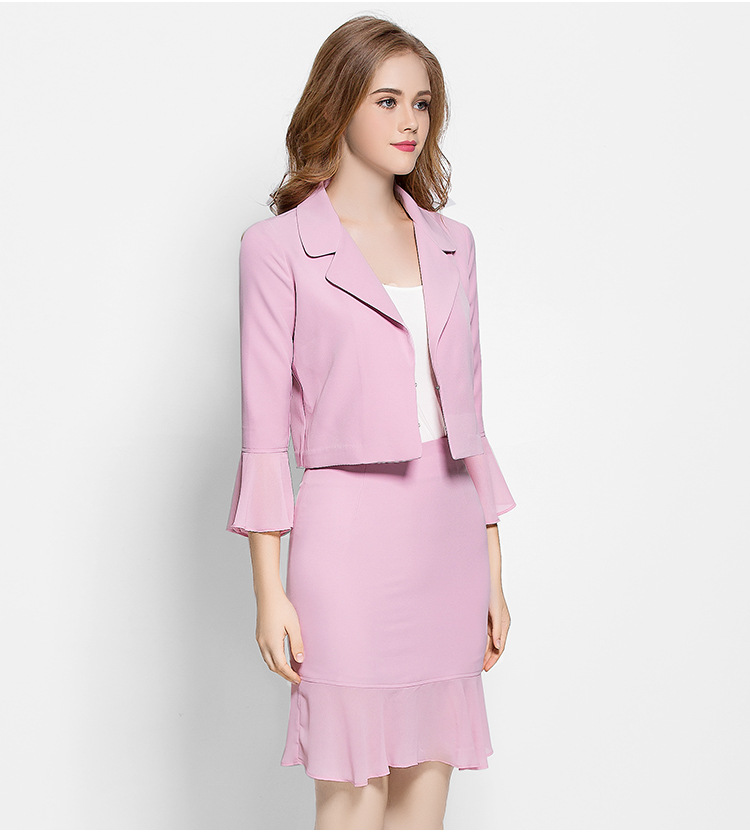 Women Elegant Cute Spring Skirt Suit Wear To Work Office Business career OL Jacket blazer & Skirts Suit 2 Piece Sets 007