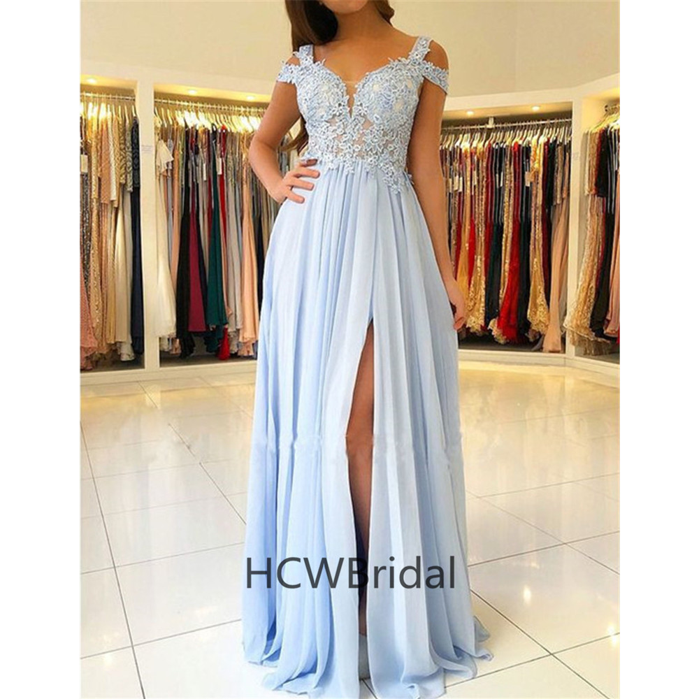 Mint Blue Chiffon   Evening     Dress   2019 High Quality Illusion Lace A Line High Split Floor Length Long Prom Gowns Custom Made