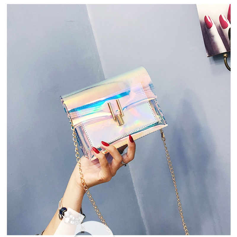 JIAOO Laser Transparent Bags Fashion Women Crossbody Bags for Women Korean Style Shoulder Bag Messenger PVC Waterproof Beach Bag 15