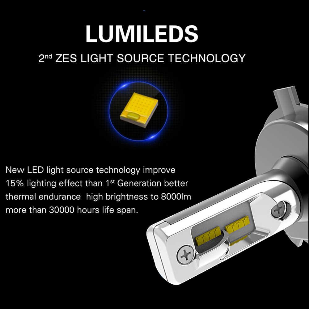LED H4 H7 Super Bright ZES Chip LED Car Bulb Canbus H11/H8/H9 9005/HB3 9006/HB4 8000Lm 6500K White Hi/Low Beam LED Lamp For Auto