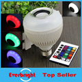 Audio Speaker E27 Wireless bluetooth 12W LED speaker bulb Colorful music playing & Lighting With 24 Keys IR remote Control