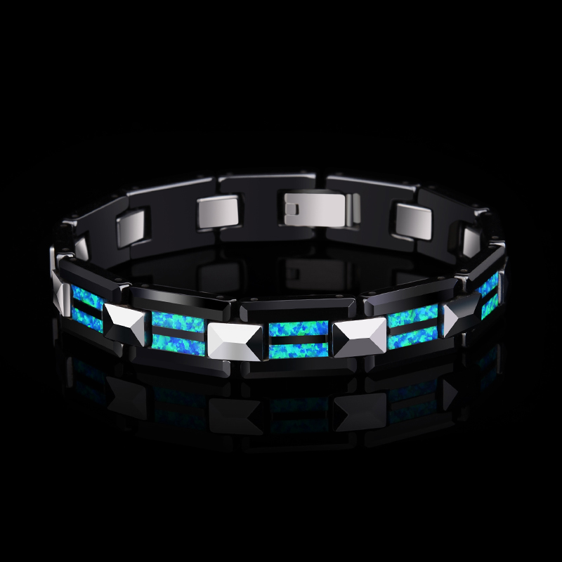 2018 neue Design Hohe Qualität 10mm Breite Hartmetall Armbänder mit Luxus Natürliche Opal Mann der Luxus Kette Schmuck 20 länge - 5