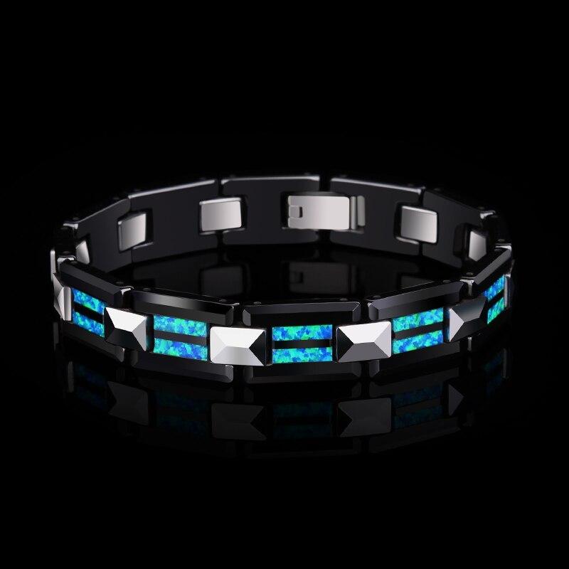 2018 novo design de alta qualidade 10mm largura tungstênio carboneto pulseiras com luxo natural opala homem luxo corrente jóias 20 comprimento - 5