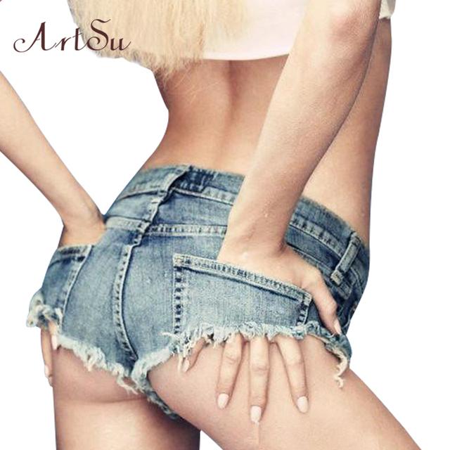 ArtSu 2017 Shorts Jeans Primavera Verão Mulheres de Slim Sexy Mini Shorts Quentes Hop Jazz Clubwear Roupa da Aptidão Jean Curta ASSH50003