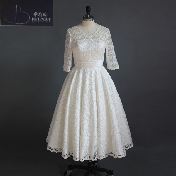 b4962864e4fa Western Style V Neck Puffy A Line Tea Length Full Lace Beach Casual Wedding  Dresses with Half Lenght Sheer Sleeves