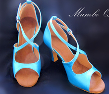 New Women Blue Satin Dance Shoes Latin Ballroom Shoes Salsa Dance Dancing Shoes Tango Shoes all size