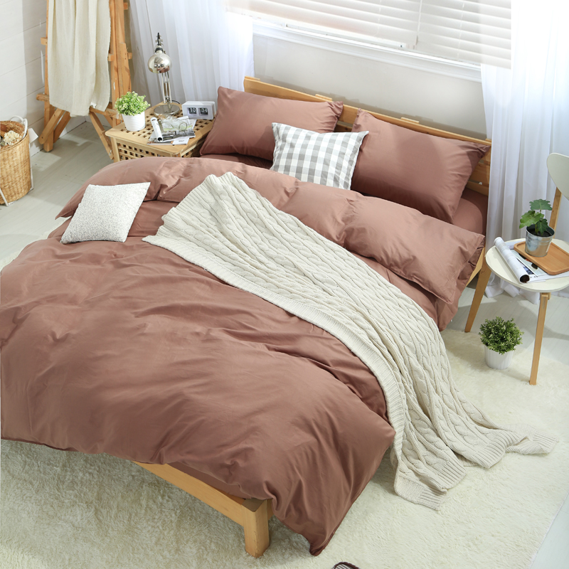 10 styles solid color Cotton Bedding set for single/double bed,(Bedsheet+Duvet cover+Pillowcase)3/4pc sets Twin/Queen/King size