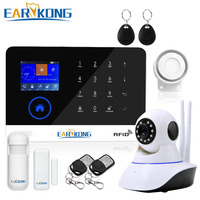 Wifi GSM APP RFID Wirelesss Home Security Gsm Alarm System Touch Keyboard 433MHz Door Detector Infrared