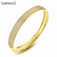 LUOTEEMI Bangles Copper CZ Geometric Style 2018 Fashion Vintage Trendy Charm For Girl Women Party Prom Anniversary Gift