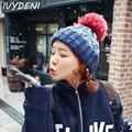 Bonnet Women Winter 2015 Hipster Women Beanies With Pompons Crochet Girls Hats Warm Knitted Hats For Women Bonnet Gorro Skullies