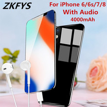 ZKFYS 4000mAh Portable Power Bank Battery Cover For iPhone 7 8 6 6s Tempered Glass External Charging Case With Audio
