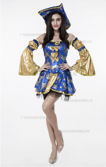 Hot sell cosplay party pirates of the Caribbean clothes women Blue Gold sexy uniform adult carnival halloween costume dress&hat