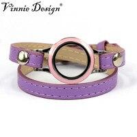New 2015 Fashion PU Leather Wrap Bracelets Round Shape Stainless Steel Floating Locket Bracelet 3 Colors