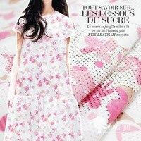 Customized 145cmwidth Pink White Butterfly Flower Chiffon Satin Silk Cotton Gauze Cloth Fabric Shirt Coat Scarf
