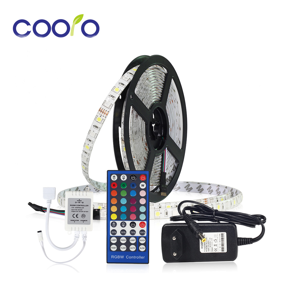 LED Strip Set DC12V RGBW RGBWW 5050 IP65 Waterproof Flexible Led Light + 40Key Remote Controller + 3A Power Adapter Kit
