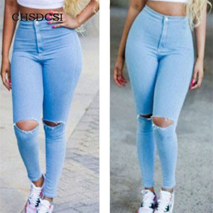 CHSDCSI Women Jeans Brand Vintage Mid Waist Regular Denim Jean Slim Solid Ripped Pencil Hole Pant Female Sexy Girl Trousers plamtee boyfriend hole ripped jeans vintage denim mid waist slim fit women pencil pants casual pants for girl jeans femininas