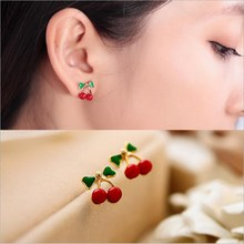 Fashion Small Cherry Bow Earrings For Women Creative Cute Exquisite Fruit Dripping Oil Glossy Jewelry Design
