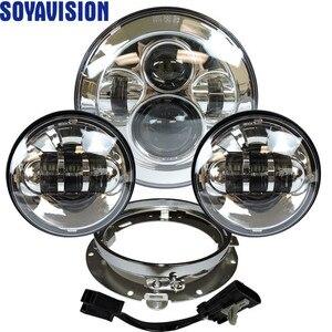 """Image 1 - פנס עבור אוניברסלי אופנוע חלקי 7 """"LED מנוע פנס 4.5"""" 4 1/2 אינץ עובר אור להארלי סיור softail קלאסי"""