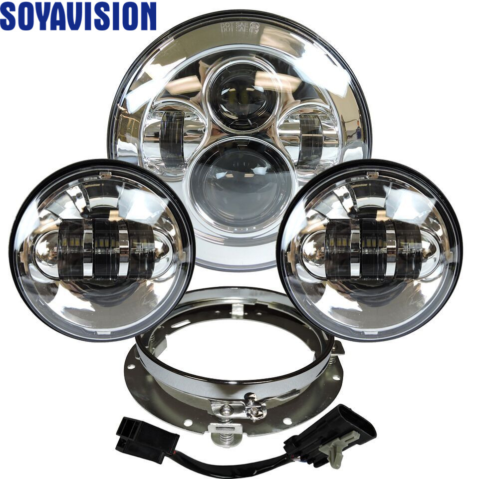 Headlight For Universal Motorcycle Parts 7 LED Motor Headlight  4.5 4 1/2 inch Passing Light For Harley Touring Softail Classiclight  for -