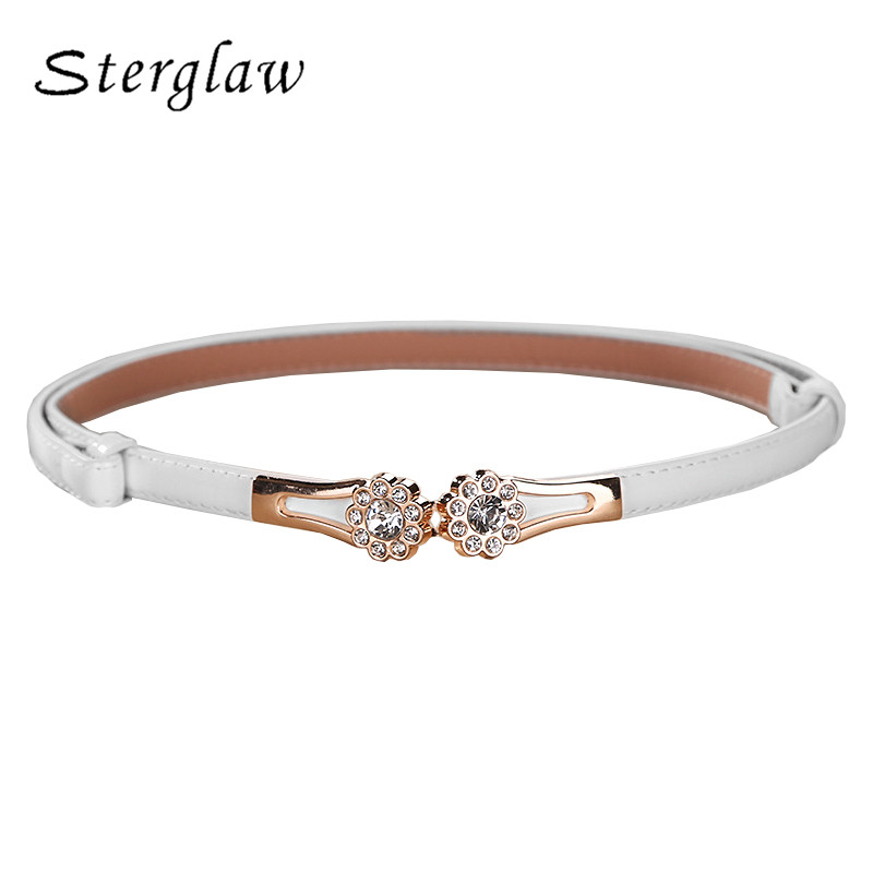 Summer new arrive ladies crystal flowers on the bucklethin   Belts   for women dresses Modeling   belt   female strap cinture D113
