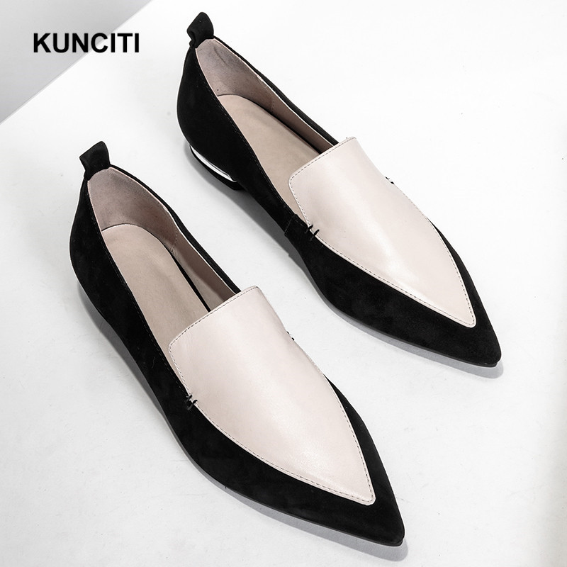 2019 Women Shoes Genuine Leather Patchwork New Fashion Leather Shoes For Women Strange Heel Pointy Flat Shoes High Quality F922