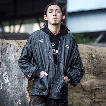 мужской черный кардиган   Кимоно куртка пальто уличная хлопковая куртка Мужская хип-хоп куртка мужская черная кимоно кардиган 2019 весна лето Overszie